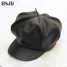 2018 New Women Leather Octagonal Caps Retro Style PU Beret Newsboy Cap Autumn Winter Fashion Female Cap Artist Painter hat(China)