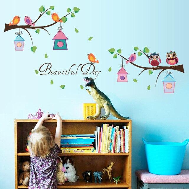Behang Stickers Kinderkamer.Tak Uil Kleuterschool Wanddecoratie Behang Stickers Baby Slaapkamer
