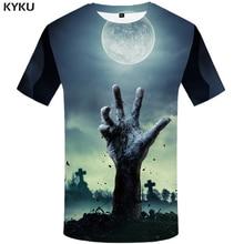 9a151fe9a KYKU Halloween Hip Hop Tshirt Anime Clothes Grave Hand Moon 3d T-shirt Ghost  Mens