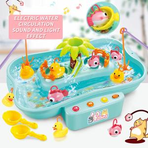 Children's lighting music fishing set multi-function suit electric water circulation spinning fishing pool toys for children