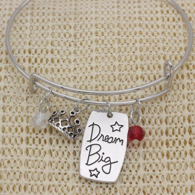 Moda korona inspirujący prezent bransoletka kryształ biżuteria Dream big leczenie regulowany bransoletka B1017