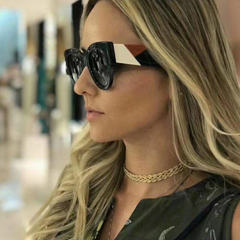 ROYAL FILLE À La Mode Carré lunettes de Soleil Femmes Marque Design 2018 Rétro Tendance Léopard Noir Blanc Shades Lunettes Soleil Lunettes ss979