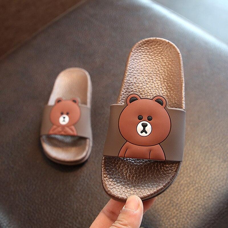 Slippers Kids Lovely Bear Cartoon Shoes Girls Sandals Animal Print Children Bathroom Slippers Beach Sandals Baby Swimming Shoes