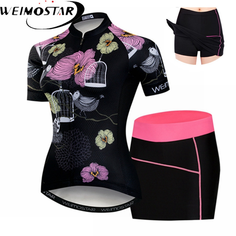 Weimostar Flowers Womens Cycling Jersey sets Pink Girls Short Sleeve MTB bicycle mini dress shorts Maillot Racing Bike Clothing