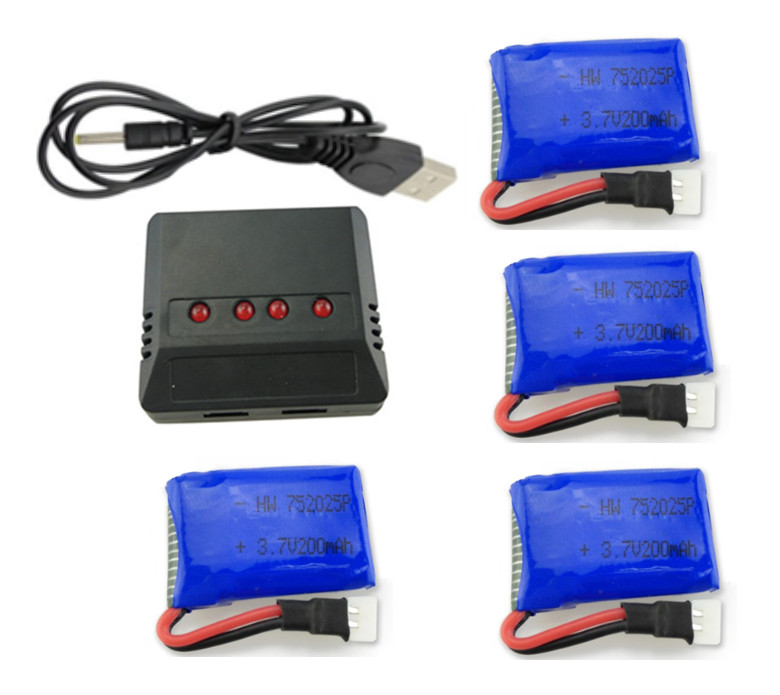 BLL Syma X4 X11 X13 RC quadcopter 3.7V 200mah Li-po battery*4pcs+4 in 1 charger box