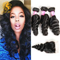 Peruvian Virgin Hair Loose wave With Closure Peruvian Virgin Hair 3 Bundles with Closure 8a Unprocesses Human Hair With Closure