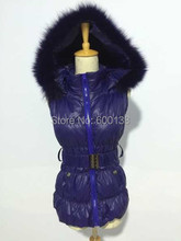 Free transport new fashion massive dimension down waistcoat  with fox fur trim hood for girls mult colour