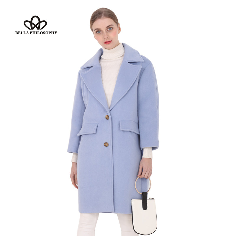 Bella Philosophy 2018 New wool long thick coat jacket Women warm winter coat turn-down coat Casual Long Outerwears for ladies
