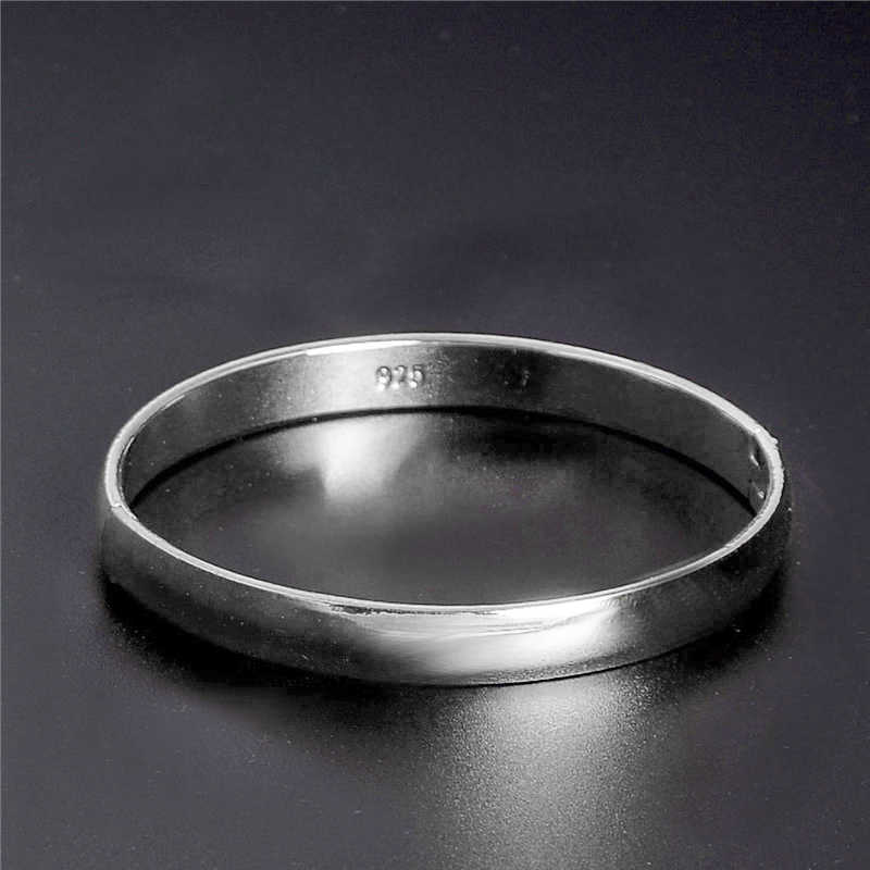 H:HYDE Minimalist 925 Open Cuff Silver Color Couple Bangles Round Adjustable Wristband Bracelets For Women Jewelry Accessories