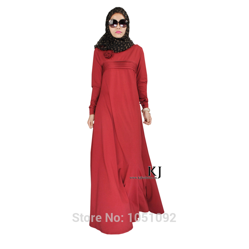 Islamic Clothing Bonnet Hijab Robe Femme Musulman Kaftan Plus Size 95% Cotton+5% Lycra Fabric Arabic Women Clothes Dresses Muslim Women 20150208 Sturdy Construction