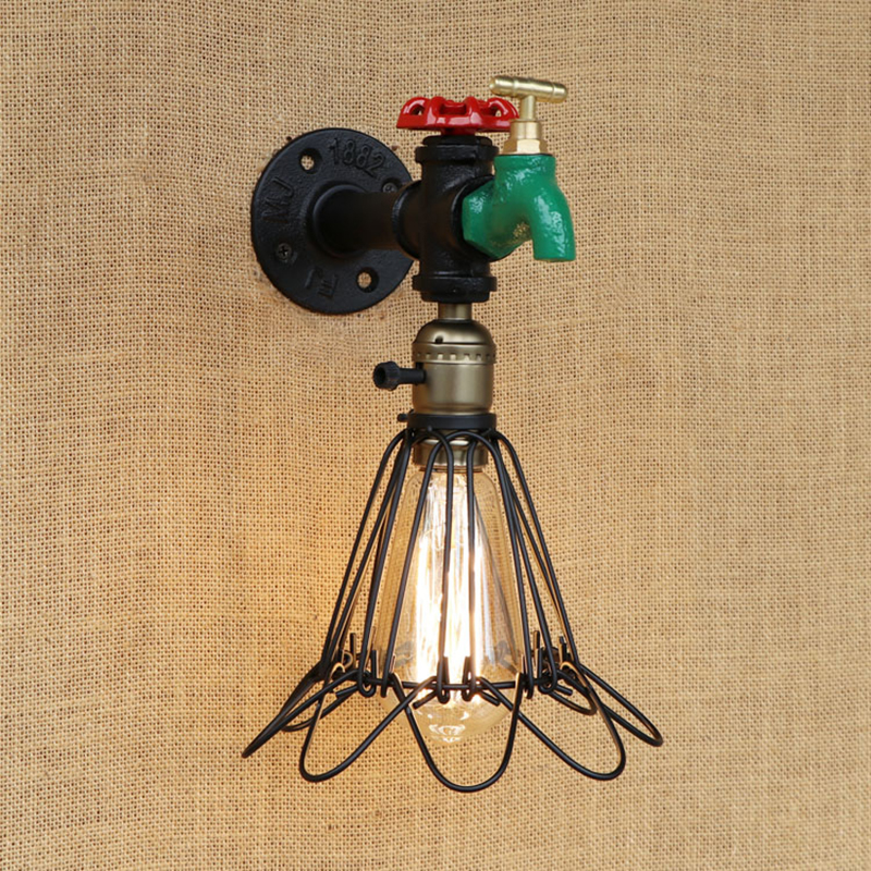 Europe vintage wall lamp indoor lighting iron rust Water pipe sconce lights lampshade for living room bedroom restaurant bar E27 steampunk loft 4 color iron water pipe retro wall lamp vintage e27 e26 sconce lights for living room bedroom restaurant bar