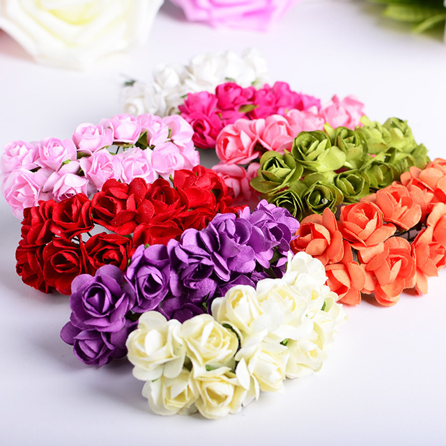 2017 NEW 7Cm Paper Flowers Mini Rose Flower candy box decor Hand ...