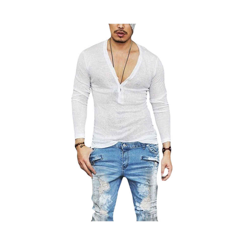 48cdcead9 Black Friday Deals New 2017 Fashion Men's Slim Fit V Neck Long Sleeve  Muscle Breathable Tee T-shirt Casual Tops