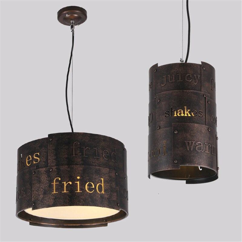 Loft retro creative Through-Carved English alphabet metal LED pendant lamp 90-265V Suspension Lamp for Dinning Room retro carved metal pendant necklace for women
