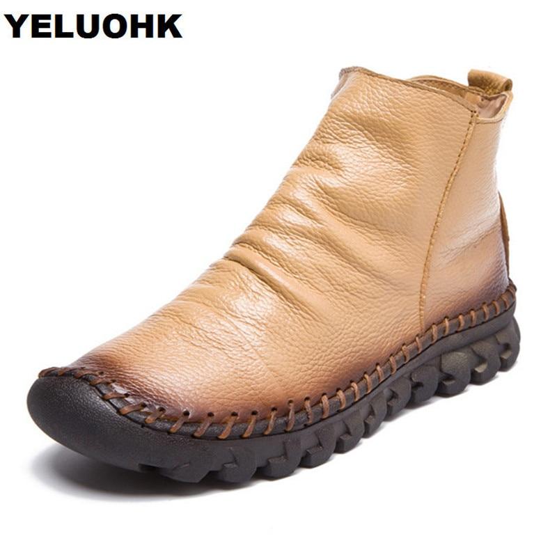 100% QualitäT Winter Neue Weiche Lederschuhe Frauen Stiefel Komfort Handmade Mokassins Frauen Stiefeletten Herbst Winter Schuhe Weibliche
