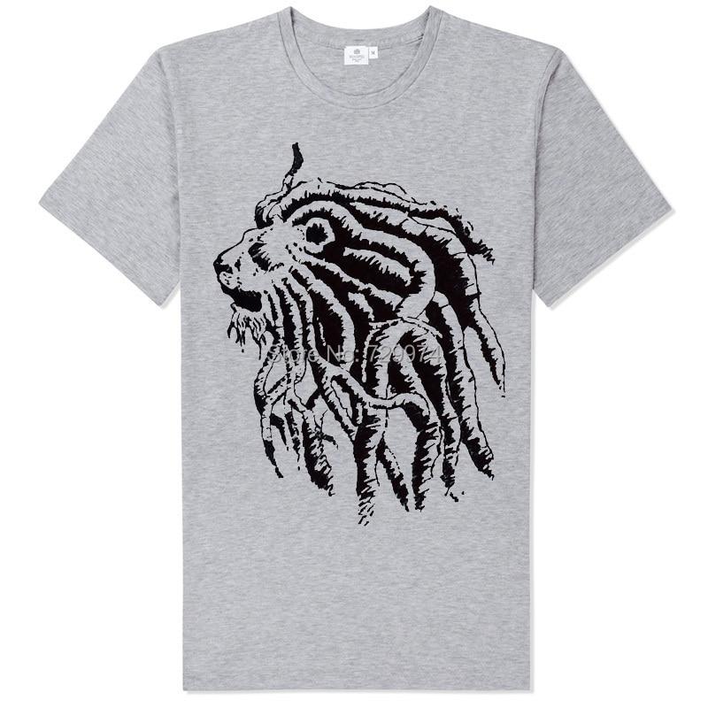 Боб Марли Африка Лев rastalocks длинные косы Модная футболка