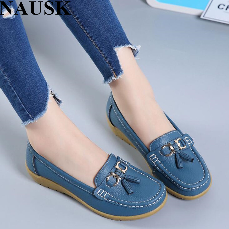 NAUSK 2018 Spring Autumn Shoes Woman Cow Leather Flats Women Slip On Women's Loafers Female Moccasins Shoe Large Size 35-43