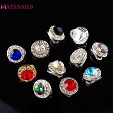 100 Pcs 3D Round Spinning Crystal Nail Charms Decoration/ Rotating Rhinestone Glitter Charm Jewelry For Nail DIY Deco A3 (1-16)