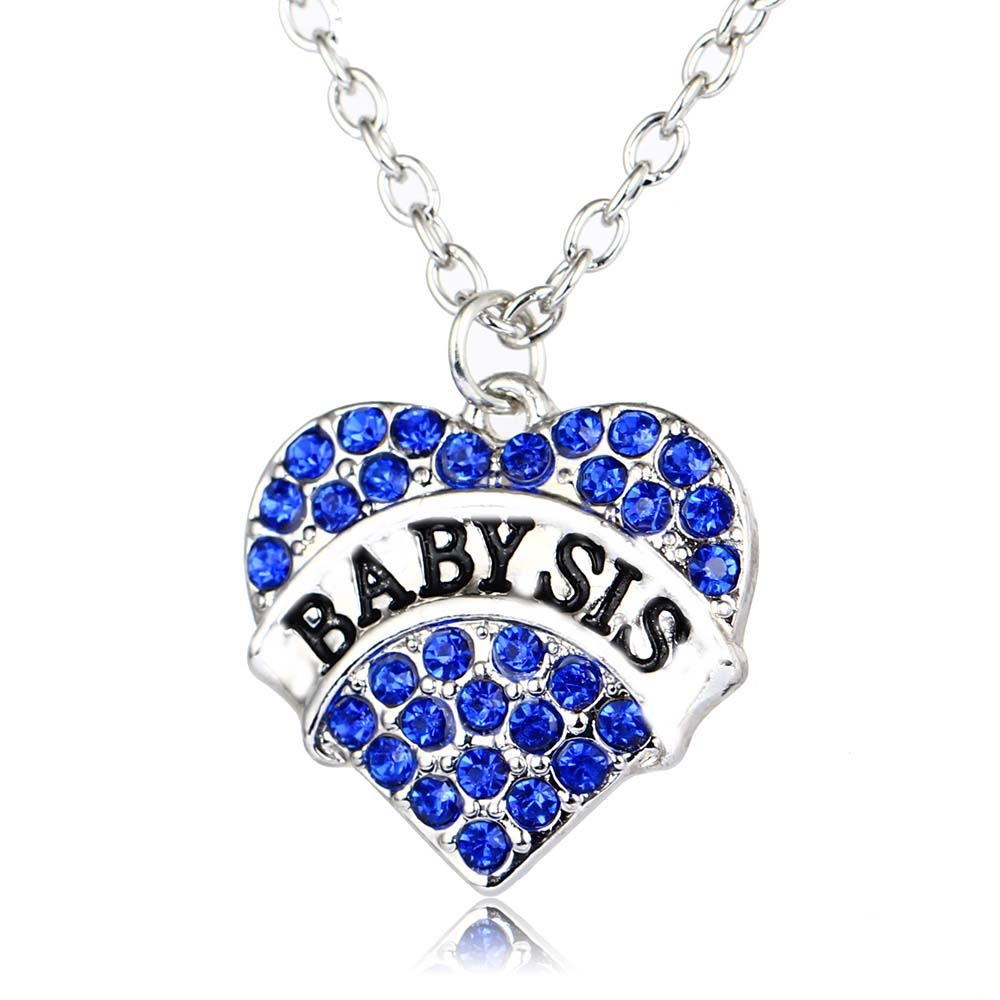 Bespmosp 24PCS/Lot Wholesale Blue Sparkling Baby Sis Crystal Rhinestone Heart Charm Pendant Necklace Girl Family Necklaces Gift