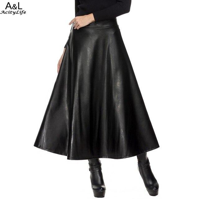 b96384c91848d1 Winter Womens Maxi Rok PU leer lange rok Slanke Taille Herfst Vintage mode  Geplooide Swing rok
