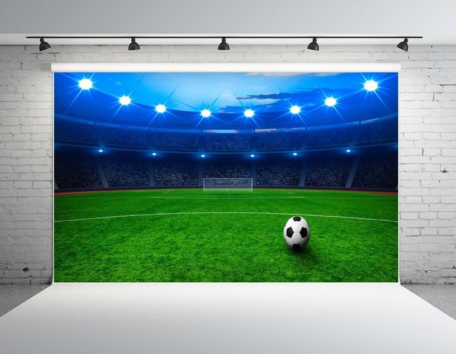 green grass football field high quality night sky football field green grass stadium arena light themed backdrop vinyl cloth computer print party