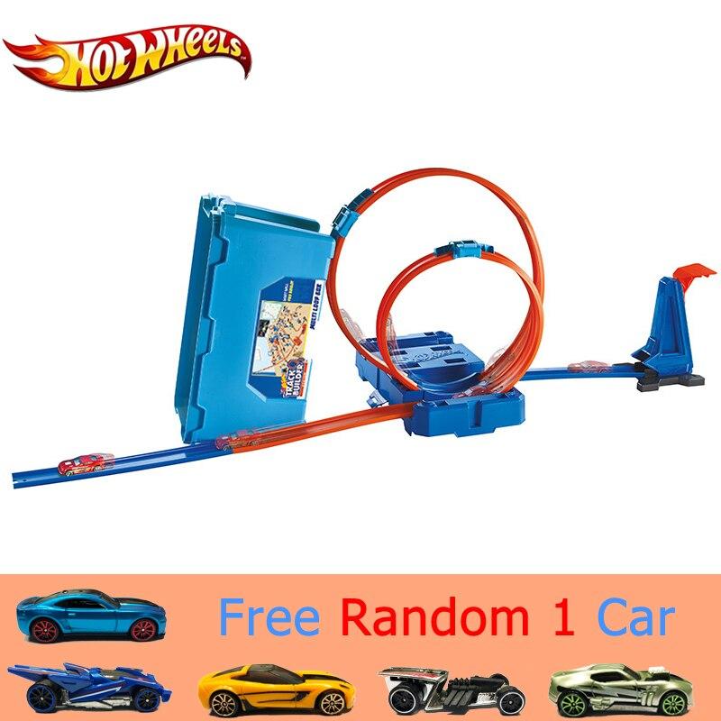 Oryginalne Hotwheels utwór marka zabawki niesamowite montowane samochodów zabawki z pudełko do przechowywania przenoszenia łatwo śledzić Hot wheels Brinquedo Pista w Odlewane i zabawkowe pojazdy od Zabawki i hobby na  Grupa 1