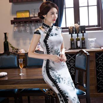 Moda w stylu Vintage Cheongsam długie qipao biały tradycyjny strój chiński suknie wieczorowe Retro szlafrok szata Orientale obroże tanie i dobre opinie BOOCRE Poliester Rayon cheongsam dress Satin Cheongsams