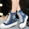 2017 Newest Autumn Women Fashion Casual Washed Ripped Holes Denim Cloth Canvas Lacing Flat Shoes Mujer Plimsoll Zapatillas G070