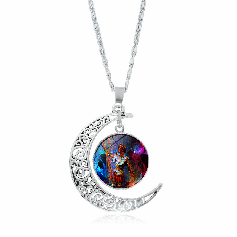 Friendly Fashion Silver Moon Crescent Necklace Colorful Character Art Photo Glass Cabochon Pendant Chain Necklace Women Selling Well All Over The World Necklaces & Pendants Jewelry & Accessories