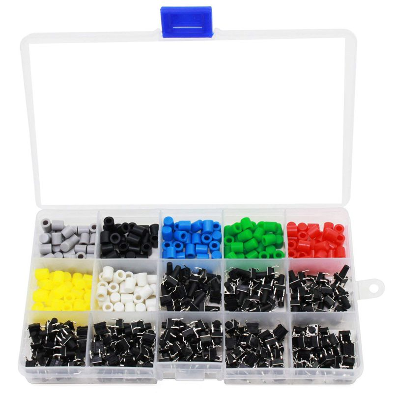 Tactile Push Button Switch Mini Momentary Tact Assortment Kit with Colorful Button Caps 420 PCS(Switch Button Caps 420 PCS)(China)