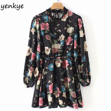 Spring 2019 Vintage Floral Print Jumpsuit Women High Collar Long Sleeve Ruffle Waist Casual Summer rompers