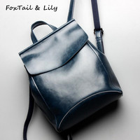 FoxTail Lily Oil Wax Cowhide Genuine Leather Backpack Women Stylish Travel Backpacks Large Capacity Ladies Simple