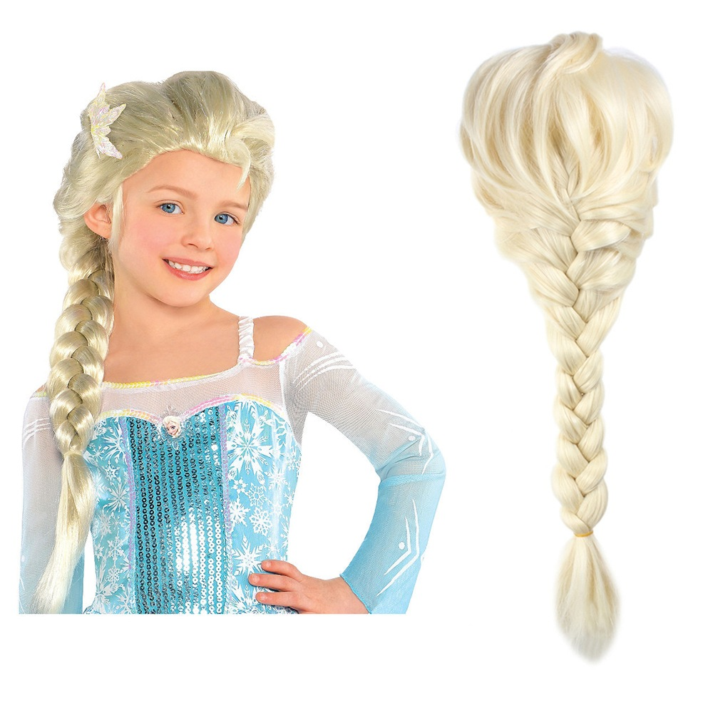 Findpitaya Children Girls Wig Kids Princess Cosplay Party Supply Elsa Anna Braid Mermaid Jasmine Aladdin Moana Hair