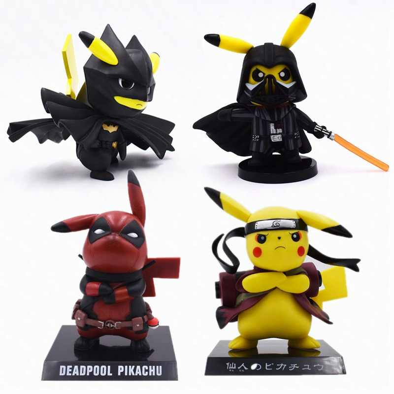 4 Styles Anime Cute Pikachu Cosplay Deadpool Batman Darth Vader Naruto PVC Action Figure Dolls Collection Model Christmas Toy