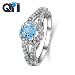 QYI High grade gemstone ring sky blue topaz Round cut in 925 sterling silver best gift for lady daily wear color gems wholesale
