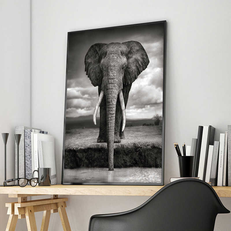 Canvas Posters and Prints Vintage Animal Wall Art Decoration Living room Retro Elephant Wall Picture Modern Study Room Paintings