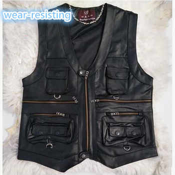 Free shipping!!2018 New gentlement genuine leather vest male slim commercial male leather vest sheepskin leather vest waistcoat - DISCOUNT ITEM  25% OFF All Category