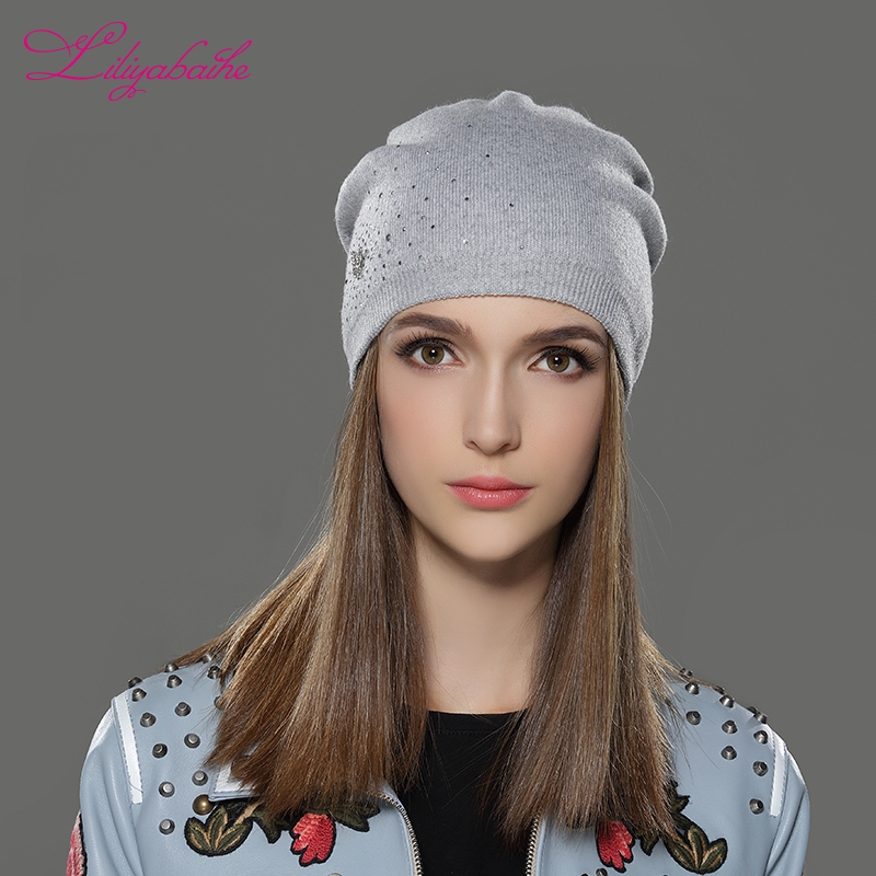 LILIYABAIHE Women Autumn And Winter Hat Knitted Wool Casual Cap Solid ColorsFemme Hat Pretty butterfly decoration for Girls the new children s cubs hat qiu dong with cartoon animals knitting wool cap and pile