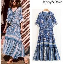 Jenny Dave vestidos summer dress bohemian patchwork pleated natural button  bow beach maxi dress women vestido 2 pieces set tops c7c689133137