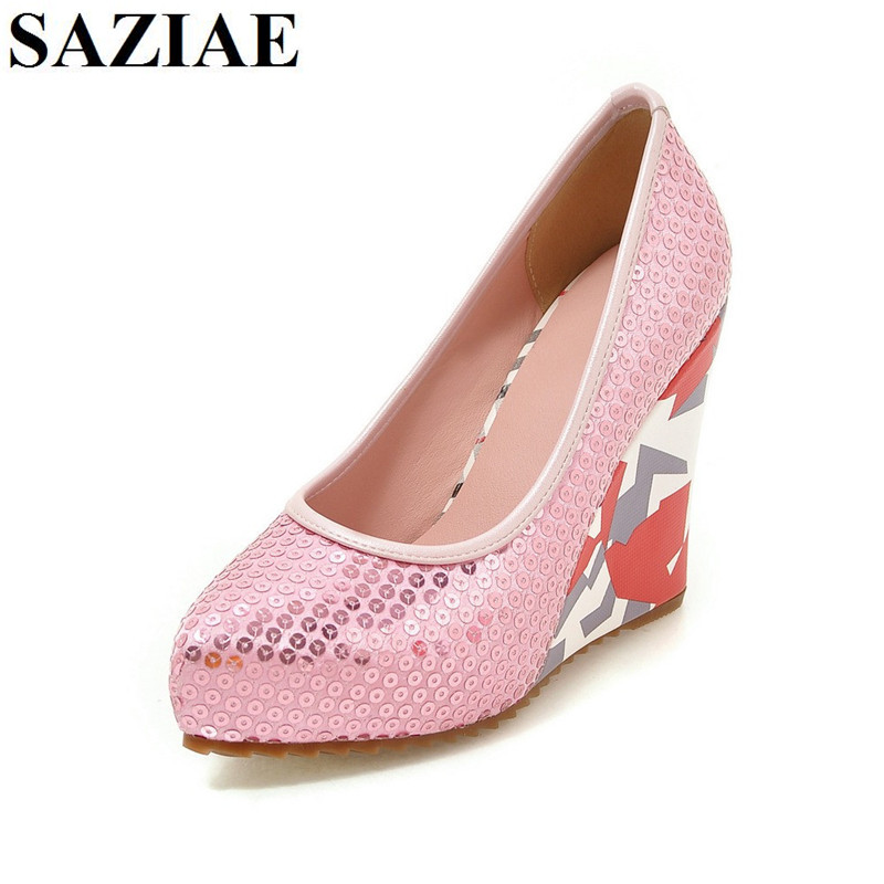 [SAZIAE] Summer Wedges Slip-on Sandals Shoes Woman Casual Fashion High Heels Female Summer Shoes Round Toe Platform Women Shoes phyanic 2017 gladiator sandals gold silver shoes woman summer platform wedges glitters creepers casual women shoes phy3323