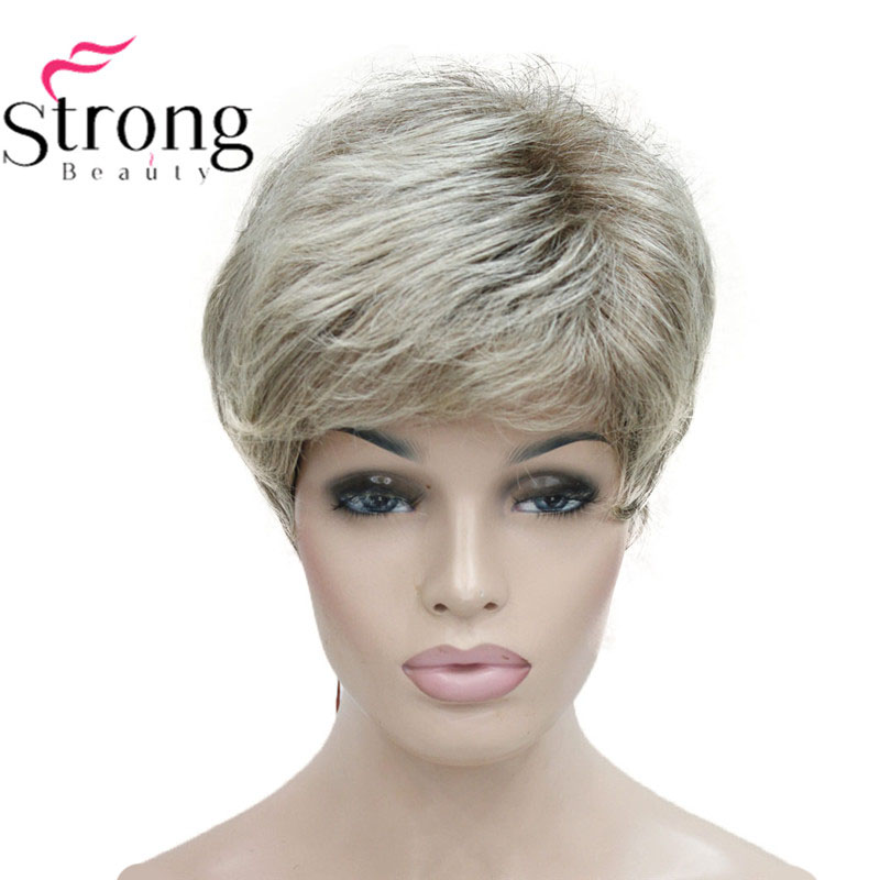 StrongBeauty Short Shaggy Layered Blonde Ombre Classic Cap full Synthetic Wig Women's Wigs-in Synthetic None-Lace  Wigs from Hair Extensions & Wigs