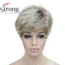 StrongBeauty krótki Shaggy warstwowa blond Ombre klasyczna czapka pełna peruka syntetyczna damska peruki