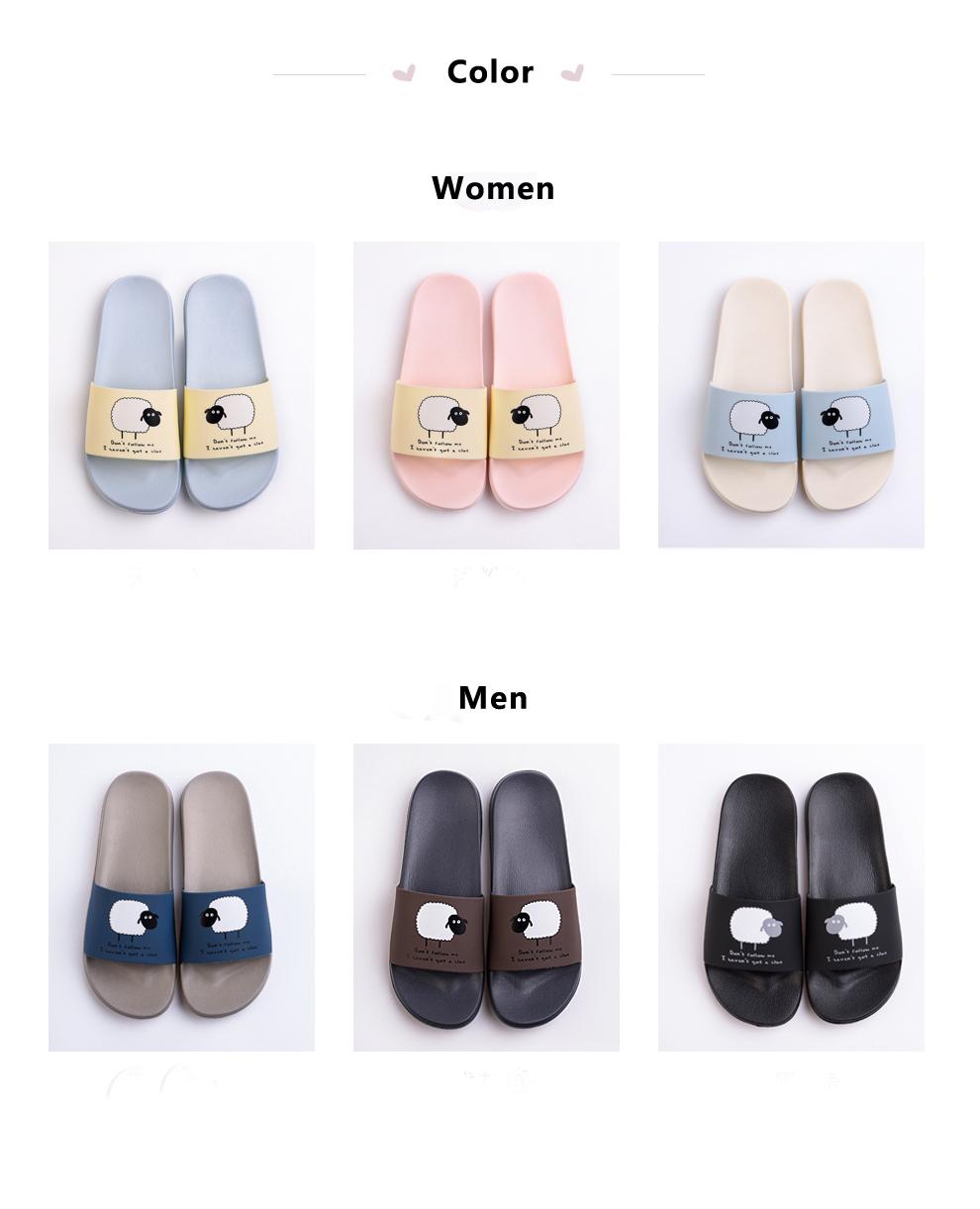 ASIFN Women Slippers EVA Men Slides Couple Cute Sheep Indoor Summer Loves Shoes Zapatos Mujer Flip Flops 27