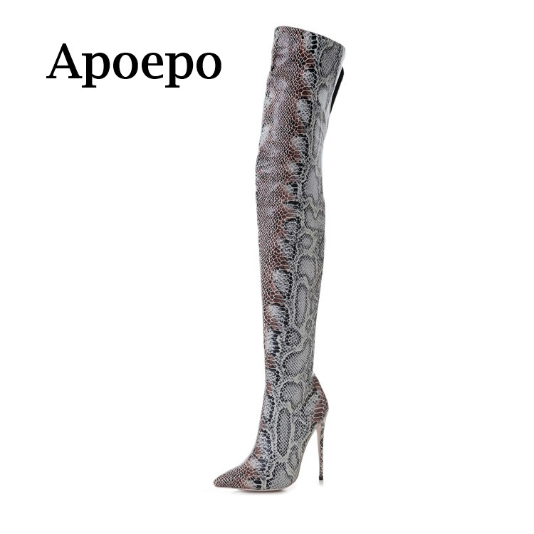 Apoepo Brand 2018 Sexy Snakeskin Leather Long Boots Pointed Toe over the knee high heel boots woman thin heels thigh high boots choudory 2017 runway denim blue over the knee boots sexy open toe high heel boots woman thigh high boots thin heels jeans boots