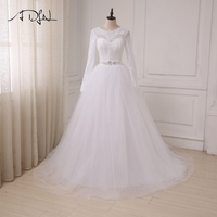ADLN In Stock Cheap White Wedding Dresses Applique Lace Tulle A Line Long Sleeves Arabic Bridal
