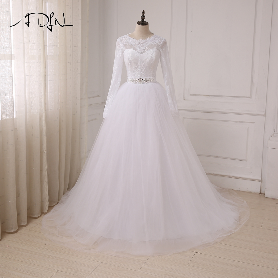 ADLN Cheap White/ Ivory Wedding Dresses Applique Lace Tulle A line ...