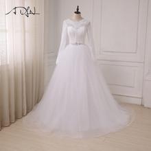 ADLN Dalam Stok Pakaian Perkahwinan Putih Murah Tulle Lace Tulle A-line Lengan Panjang Bahasa Arab Gaun Pengantin Kembali Zip dengan Butang