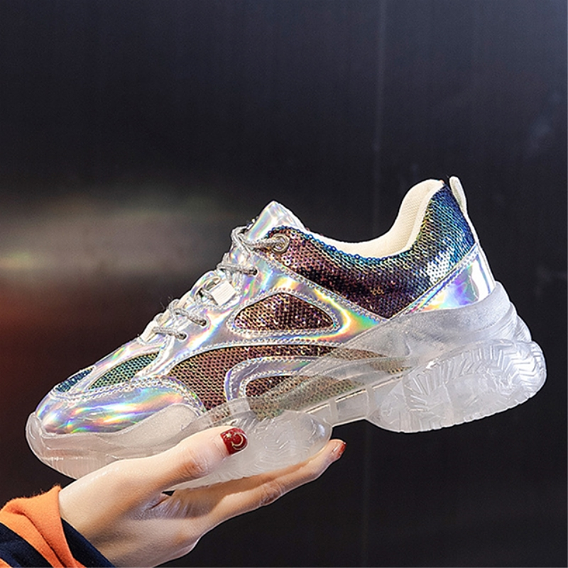 outlet undefeated x new list US $34.99 30% OFF New Women's Platform Designer Sneakers Casual Transparent  Sole Laser Sequin Sneaker Walking Shoes Gold Silver Female Daddy Shoes-in  ...
