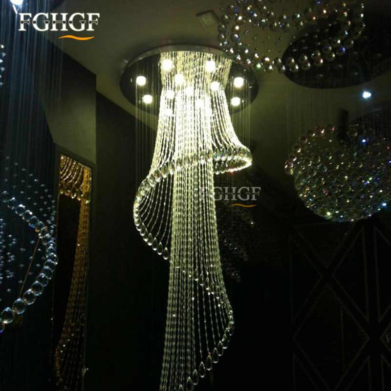 Современные хрустальные люстры большой Размеры Кристалл Люстры спираль лампы длинные лестницы люстры Освещение приспособление для фойе отеля вилла