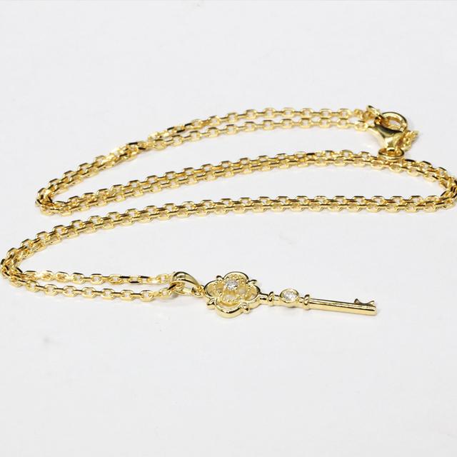 9K Solid Rose Gold Real Natural Diamond Key Pendant